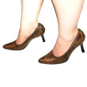Franco Sarto Womens Leather Corset Heels Sz 9.5